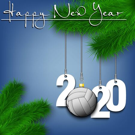 Happy New Year. Numbers 2020 and volleyball ball as a Christmas decorations hanging on a Christmas tree branch. Design pattern for greeting card, banner, poster, flyer, invitation. Vector illustration Ilustração