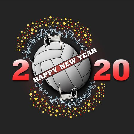 Happy new year 2020 and baseball ball with baseball players and fans. Creative design pattern for greeting card, banner, poster, flyer, party invitation. Vector illustration Ilustração