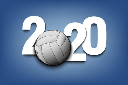 New Year numbers 2020 and volleyball ball on an isolated background. Creative design pattern for greeting card, banner, poster, flyer, party invitation, calendar. Vector illustration Ilustração