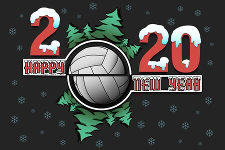 Happy new year 2020 and volleyball ball with Christmas trees on an isolated background. Snowy numbers and letters. Design pattern for greeting card, banner, poster, flyer. Vector illustration