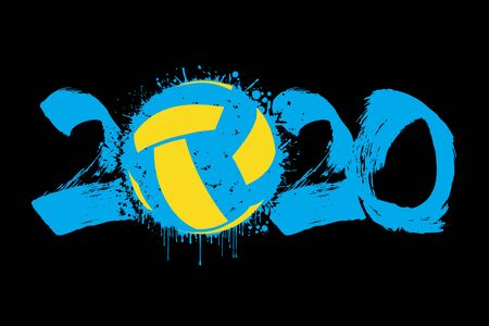 Abstract numbers 2020 and volleyball ball made of blots in grunge style. 2020 New Year on an isolated background. Design pattern. Vector illustration