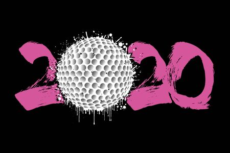 Abstract numbers 2020 and golf ball made of blots in grunge style. 2020 New Year on an isolated background. Design pattern. Vector illustration