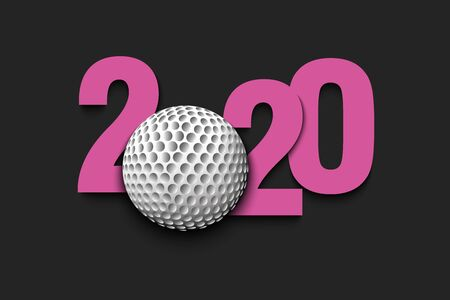 New Year numbers 2020 and golf ball on an isolated background. Creative design pattern for greeting card, banner, poster, flyer, party invitation, calendar. Vector illustration Ilustrace