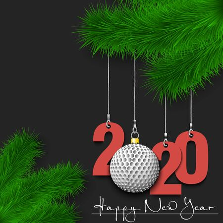 Happy New Year. Numbers 2020 and golf ball as a Christmas decorations hanging on a Christmas tree branch. Design pattern for greeting card, banner, poster, flyer, invitation. Vector illustration