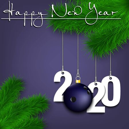Happy New Year. Numbers 2020 and bowling ball as a Christmas decorations hanging on a Christmas tree branch. Design pattern for greeting card, banner, poster, flyer, invitation. Vector illustration