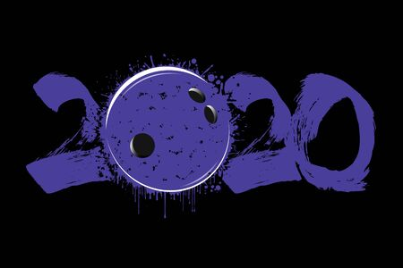 Abstract numbers 2020 and bowling ball made of blots in grunge style. 2020 New Year on an isolated background. Design pattern. Vector illustration