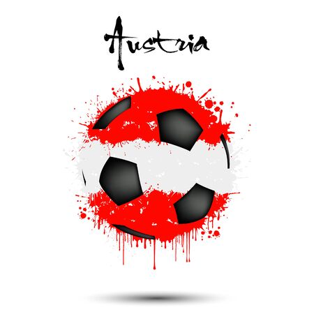 Abstract soccer ball painted in the colors of the Austria flag. Flag of Austria in the form of a soccer ball made of blots on an isolated background. Grunge style. Vector illustration Stockfoto - 134539407