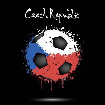 Abstract soccer ball painted in the colors of the Czech Republic flag. Flag of Czechia in the form of a soccer ball made of blots on an isolated background. Grunge style. Vector illustration