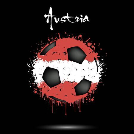 Abstract soccer ball painted in the colors of the Austria flag. Flag of Austria in the form of a soccer ball made of blots on an isolated background. Grunge style. Vector illustration