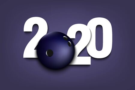 New Year numbers 2020 and bowling ball on an isolated background. Creative design pattern for greeting card, banner, poster, flyer, party invitation, calendar. Vector illustration Ilustracja