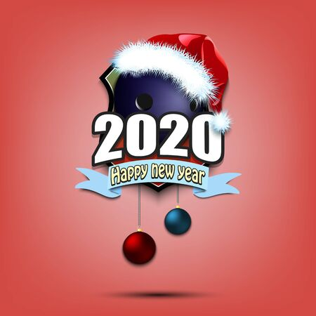 Happy new year 2020. Bowling logo template design. Bowling ball in santa hat. Pattern for banner, poster, greeting card, party invitation. Vector illustration