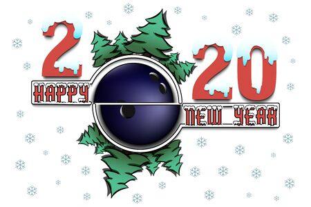 Happy new year 2020 and bowling ball with Christmas trees on an isolated background. Snowy numbers and letters. Design pattern for greeting card, banner, poster, flyer, invitation. Vector illustration Ilustracja
