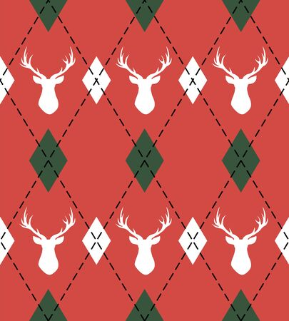 Christmas and new year pattern argyle with deers. Plaid in white, red rhombuses and deers. Scottish cage. Christmas background with diamonds and deers. Seamless fabric texture. Vector illustration