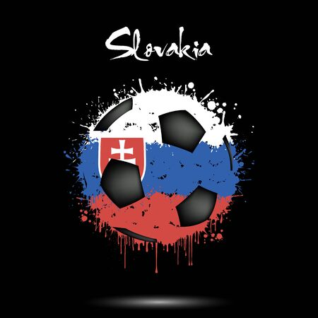 Abstract soccer ball painted in the colors of the Slovakia flag. Flag of Slovakia in the form of a soccer ball made of blots on an isolated background. Grunge style. Vector illustration