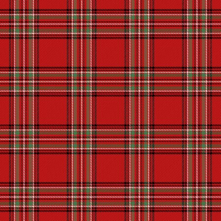 Christmas and new year tartan plaid. Scottish pattern in black, red and white cage. Scottish cage. Traditional Scottish checkered background. Seamless fabric texture. Vector illustration