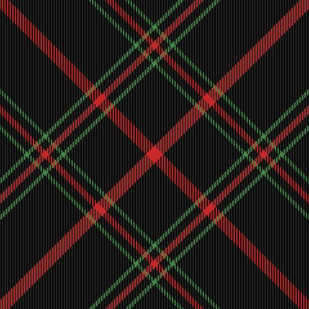 Christmas and new year tartan plaid. Scottish diagonal pattern in black, green and red cage. Scottish cage. Traditional Scottish checkered background. Seamless fabric texture. Vector illustration