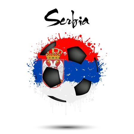 Abstract soccer ball painted in the colors of the Serbia flag. Flag of Serbia in the form of a soccer ball made of blots on an isolated background. Grunge style. Vector illustration Ilustração
