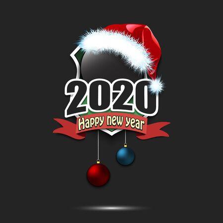 Happy new year 2020. Hockey template design. Hockey puck in santa hat. Pattern for banner, poster, greeting card, party invitation. Vector illustration Illusztráció