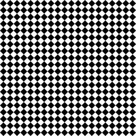 Motif de losanges noirs et blancs. Fond quadrillé en diagonale. Motif d'échecs en diagonale. Plaid à losanges. Texture de tissu sans couture. Illustration vectorielle