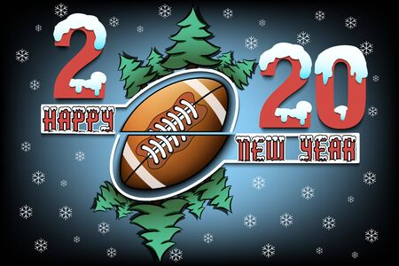 Happy new year 2020 and football ball with Christmas trees on an isolated background. Snowy numbers and letters. Design pattern for greeting card, banner, poster, flyer. Vector illustration