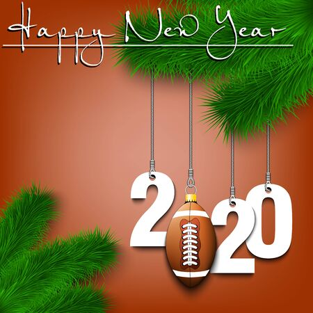 Happy New Year. Numbers 2020 and football ball as a Christmas decorations hanging on a Christmas tree branch. Design pattern for greeting card, banner, poster, flyer, invitation. Vector illustration