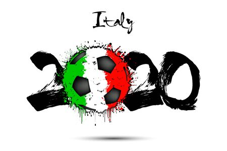 Abstract numbers 2020 and soccer ball painted in the colors of the Italy flag in grunge style. Figures 2020 and flag of Italy in the form of a soccer ball made of blots. Vector illustration
