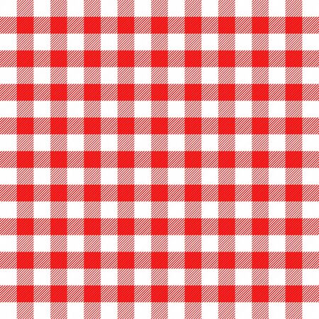 Christmas and new year tartan plaid. Vichy cell. Scottish pattern in red and white cage. Traditional Scottish checkered background. Seamless fabric texture. Vector illustration