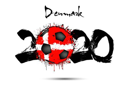 Abstract numbers 2020 and soccer ball painted in the colors of the Denmark flag in grunge style. Figures 2020 and flag of Denmark in the form of a soccer ball made of blots. Vector illustration Ilustrace