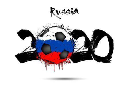 Abstract numbers 2020 and soccer ball painted in the colors of the Russia flag in grunge style. Figures 2020 and flag of Russia in the form of a soccer ball made of blots. Vector illustration