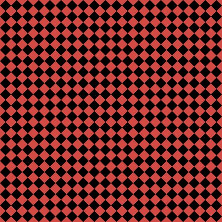Pattern of black and red rhombuses. Diagonal checkered background. Diagonal Chess pattern. Argyle plaid. Seamless fabric texture. Vector illustration Illustration