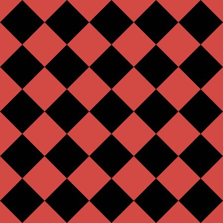 Motif de losanges noirs et rouges. Fond quadrillé en diagonale. Motif d'échecs en diagonale. Plaid à losanges. Texture de tissu sans couture. Illustration vectorielle