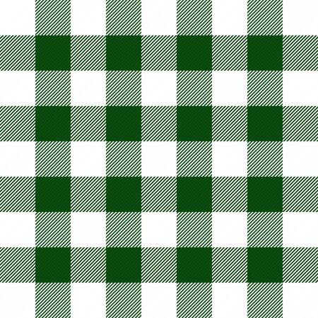 Plaid scozzese di Natale e Capodanno. cellula di Vichy. Motivo scozzese in gabbia verde e bianca. Fondo a scacchi scozzese tradizionale. Trama del tessuto senza soluzione di continuità. Illustrazione vettoriale