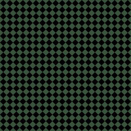 Motif de losanges noirs et verts. Fond quadrillé en diagonale. Motif d'échecs en diagonale. Plaid à losanges. Texture de tissu sans couture. Illustration vectorielle Vecteurs