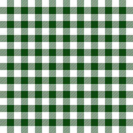 Christmas and new year tartan plaid. Vichy cell. Scottish pattern in green and white cage. Traditional Scottish checkered background. Seamless fabric texture. Vector illustration