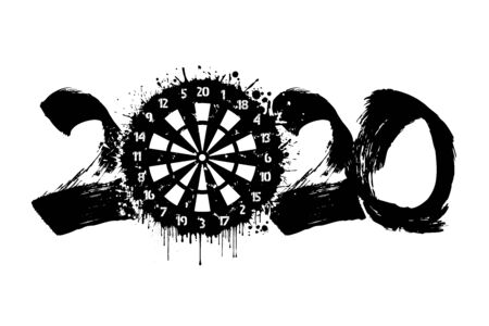 Abstract numbers 2020 and a dartboard made of blots in grunge style. 2020 New Year on an isolated background. Design pattern. Vector illustration
