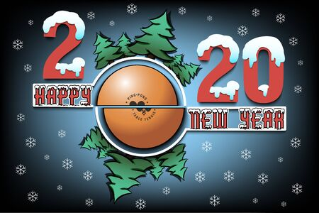 Happy new year 2020 and ball with Christmas trees on an isolated background. Snowy numbers and letters. Design pattern for greeting card, banner, poster, flyer, invitation. Vector illustration