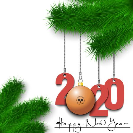 Happy New Year. Numbers 2020 and ball as a Christmas decorations hanging on a Christmas tree branch. Design pattern for greeting card, banner, poster, flyer, invitation. Vector illustration Ilustração