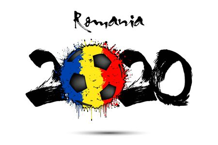 Abstract numbers 2020 and soccer ball painted in the colors of the Romania flag in grunge style. Figures 2020 and flag of Romania in the form of a soccer ball made of blots. Vector illustration Stock Illustratie