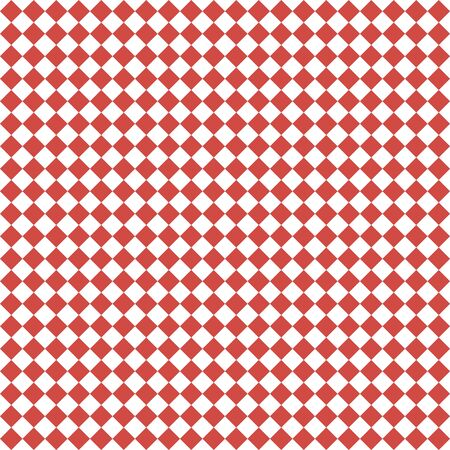 Pattern of white and red rhombuses. Diagonal checkered background. Diagonal Chess pattern. Argyle plaid. Seamless fabric texture.