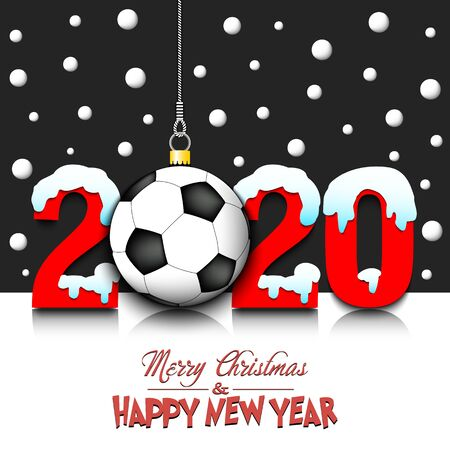 Merry Christmas and Happy New Year. Number 2020 and soccer ball as a Christmas decorations hanging on strings amid falling snow on a mirror surface. Pattern for greeting card.