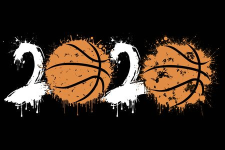 Abstract numbers 2020 and basketball ball made of blots in grunge style. 2020 New Year on an isolated background.
