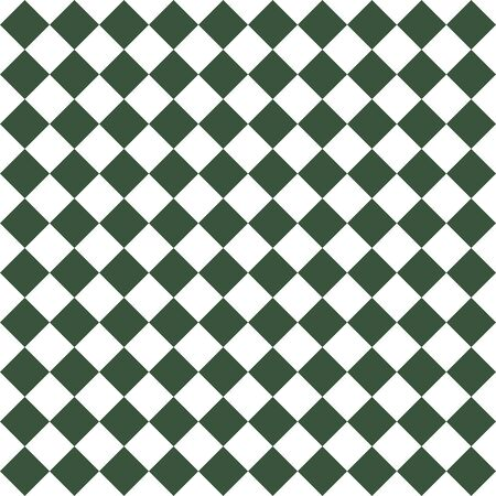 Pattern of white and green rhombuses. Diagonal checkered background. Diagonal Chess pattern. Argyle plaid. Seamless fabric texture.