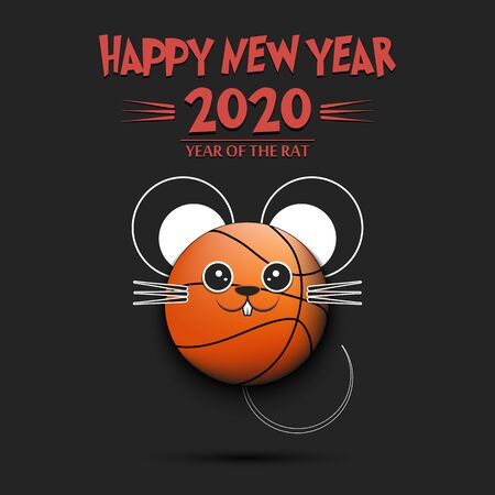 Happy New year. 2020 year of the rat. Cute muzzle mouse in the form of a basketball ball. Basketball ball made in the form of a rat. Greeting card template with for 2020 new year.
