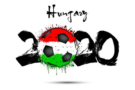 Abstract numbers 2020 and soccer ball painted in the colors of the Hungary flag in grunge style. Figures 2020 and flag of Hungary in the form of a soccer ball made of blots.
