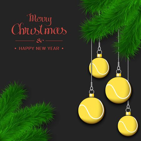 Marry Christmas and Happy New Year. Tennis balls as a Christmas decorations hanging on a Christmas tree branch. Design pattern for greeting card, banner, poster, flyer, invitation. Vector illustration  イラスト・ベクター素材