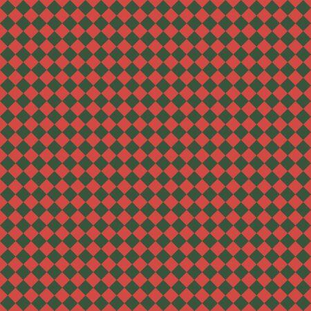 Pattern of red and green rhombuses. Diagonal checkered background. Diagonal Chess pattern. Argyle plaid. Seamless fabric texture. Vektorgrafik