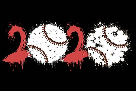 Abstract numbers 2020 and baseball ball made of blots in grunge style. 2020 New Year on an isolated background. Design pattern.