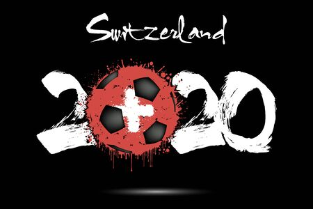 Abstract numbers 2020 and soccer ball painted in the colors of the Switzerland flag in grunge style. 2020 and flag of Switzerland in the form of a soccer ball made of blots.