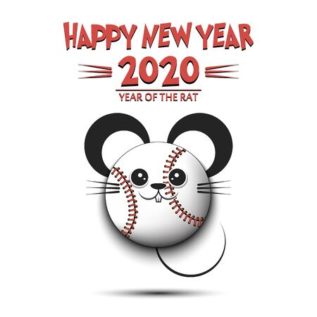 Happy New year. 2020 year of the rat. Cute muzzle mouse in the form of a soccer ball. Baseball ball made in the form of a rat.