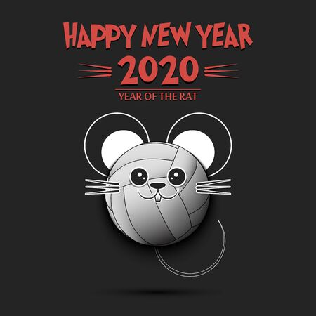 Happy New year. 2020 year of the rat. Cute muzzle mouse in the form of a volleyball ball. Soccer ball made in the form of a rat. Greeting card design template with for 2020 new year. Vector illustration